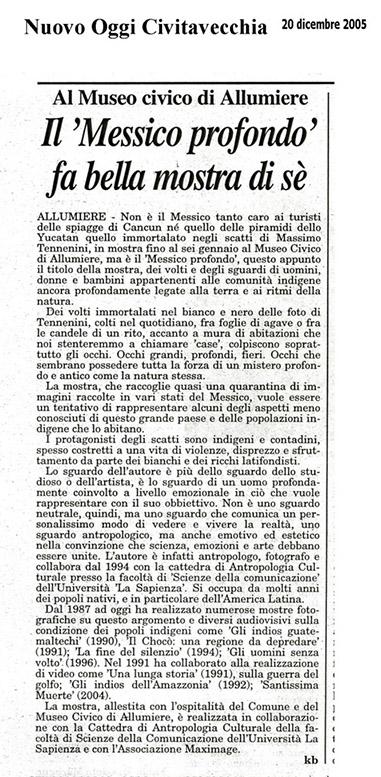 05 - Mostra al Museo di Allumiere - Nuovo Oggi Civitavecchia 20 dicembre 2005