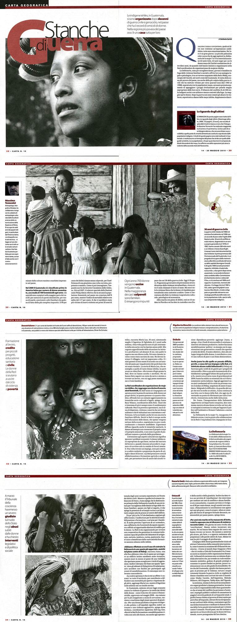 Articolo su CARTA del 14 maggio 2010