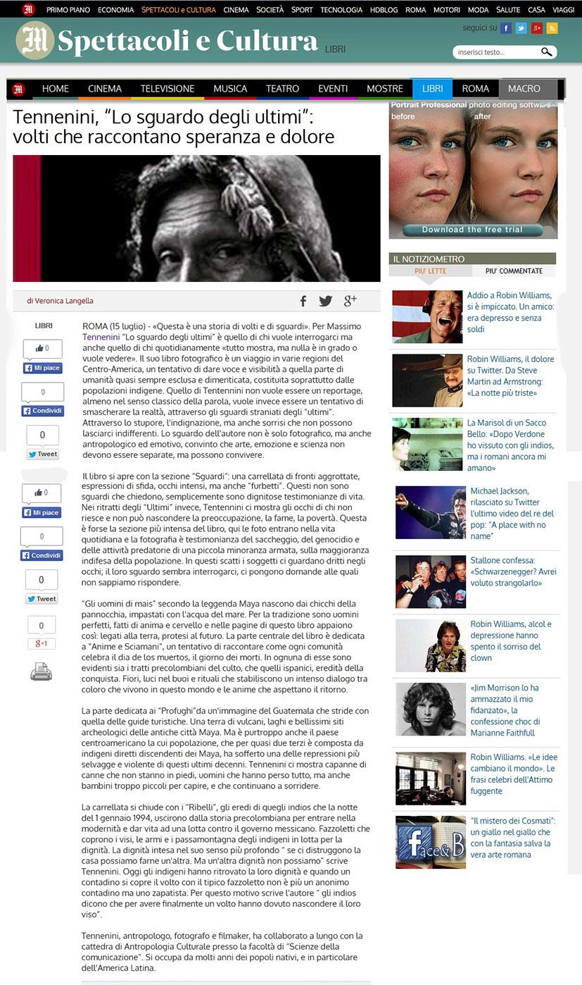 Lo sgurdo degli ultimi - Il Messaggero Mercoledì 15 luglio 2009