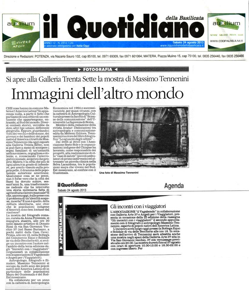 Mostra Matera - Il Quotidiano della Basilicata pag.1- 24 agosto 2013