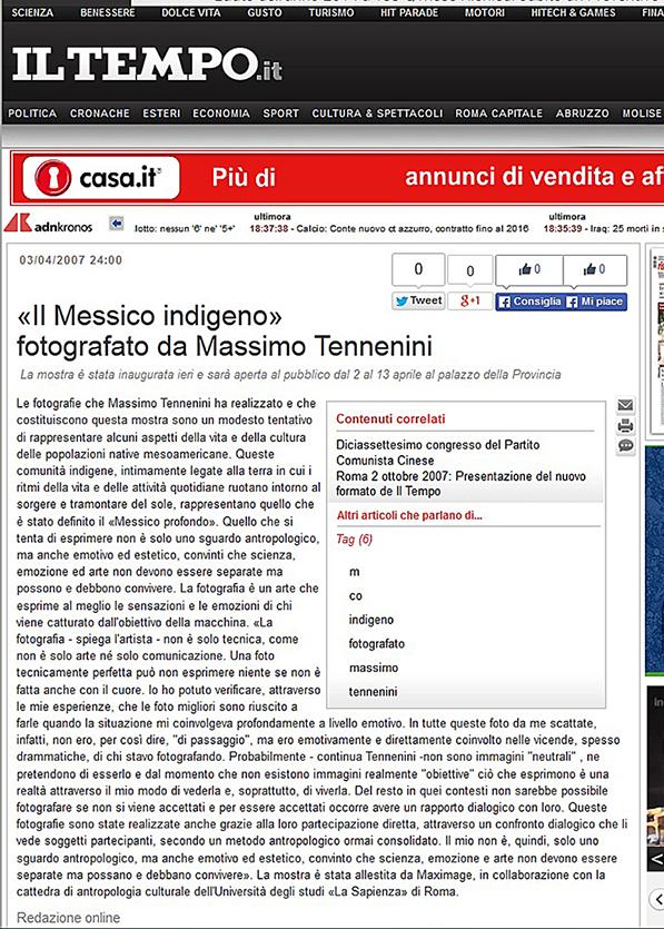 Mostra a Frosinone dal 2 al 13 aprile 2007 - Il Tempo