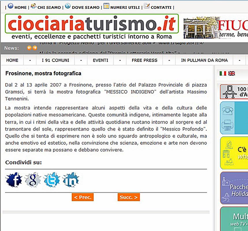 Mostra a Frosinone dal 2 al 13 aprile 2007