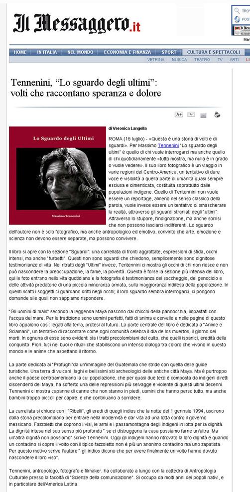 Recensione libro sul Messaggero del 15 luglio 2009